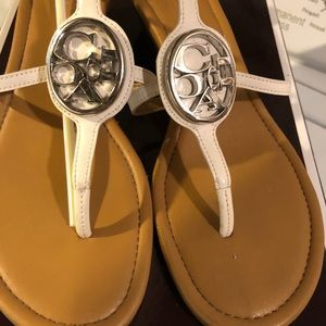 Coach wedge vipor beige leather sandals size 8.5